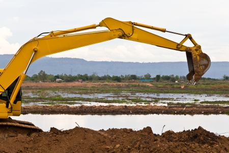 back hoe: Backhoe working on a construction site Stock Photo