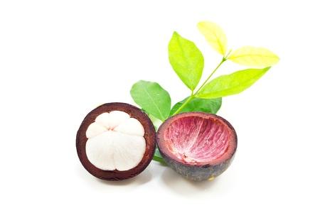 Mangosteen on white background  photo
