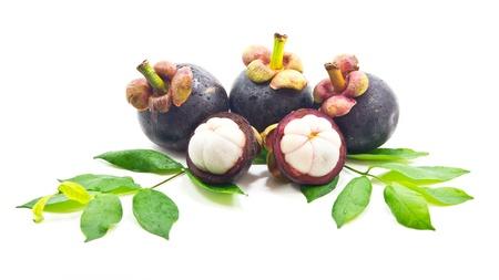 mangosteen: Mangosteen on white background