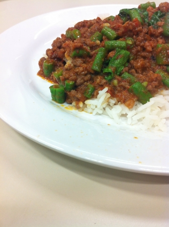 postpone: Fried rice with beef curry.