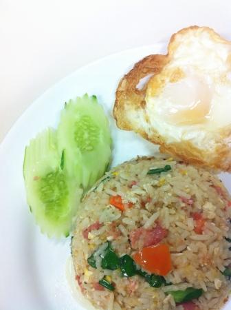postpone: Fried rice and fried egg.