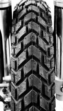 Tyres Motorbike flavors other components to form mono-tone  photo