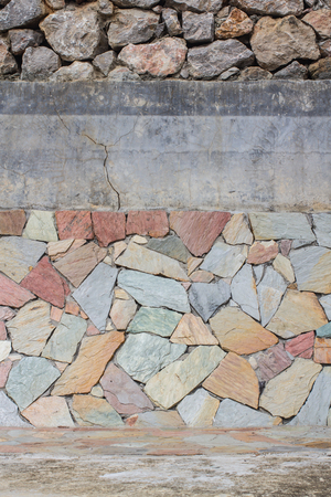 mimic: Mimic natural stone wall.Details of finishing works in construction.