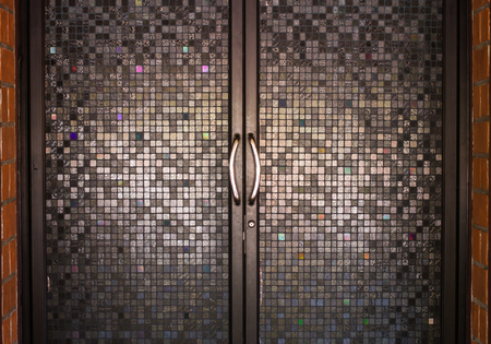 flagstone: Beautiful patterned glass.Details Beautiful building decoration. Stock Photo