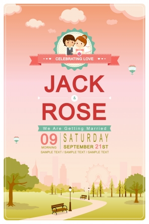 sweet couple: Cute park pink sky wedding invitation card template vector illustration