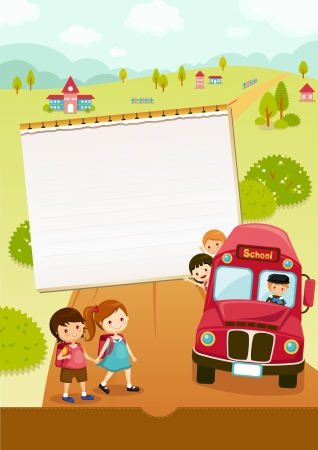 cartoon school girl: Ir a la escuela, autob�s escolar