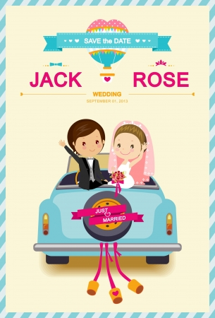 Cute Bride and Groom in Wedding Car Wedding Invitation Template Vector