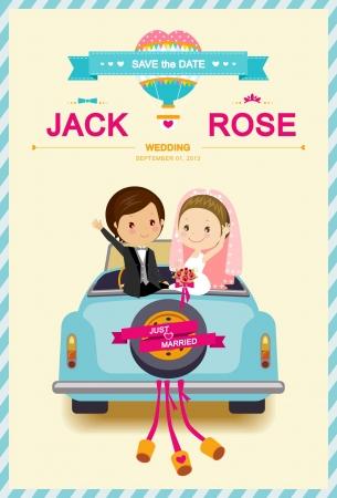 Novia linda y novio en la plantilla de la invitación de la boda de coches de boda