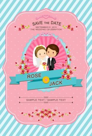 かわいい花嫁および新郎の結婚式の招待状のテンプレート  イラスト・ベクター素材