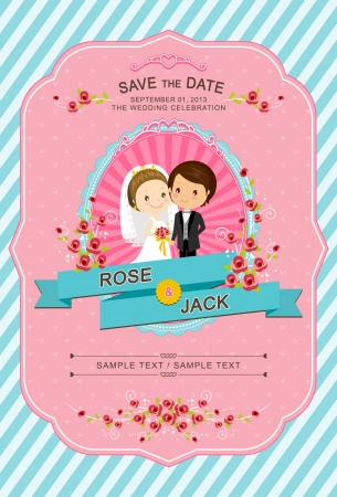 Cute Bride and Groom Wedding Invitation Template Vector