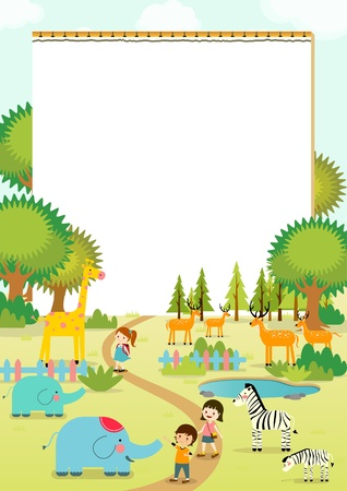 Field trip to the zoo with nootbook vector illustration Иллюстрация