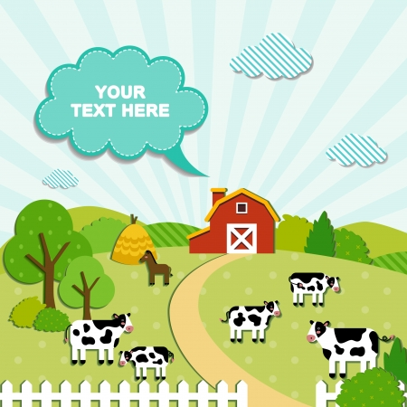 Landscape with farm and cows vector illustration