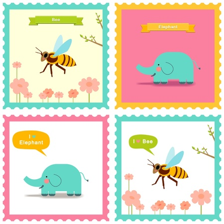Collection of stamps animals bee and elephant