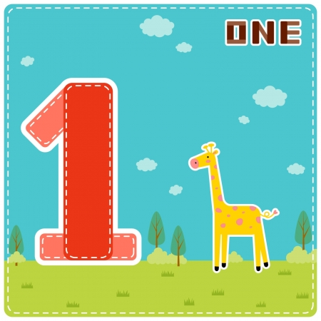 One giraffe  Illustration