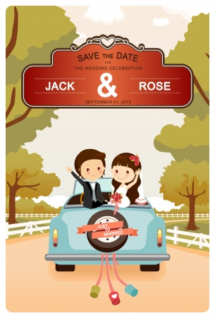 groom: Just Married   A vector illustration of a newlyweds In Wedding Car Illustration