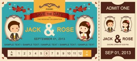 Gerade verheiratet Vintage Hochzeitsticket Einladung
