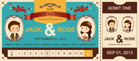 couple date: Just Married   Vintage Wedding Ticket Invitation
