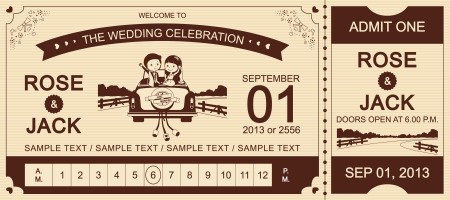 biglietto: Just Married Brown Wedding Car Ticket Invitation Card vettoriale Illustrator Vettoriali
