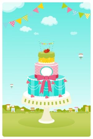 Cute cake in garden background Vector
