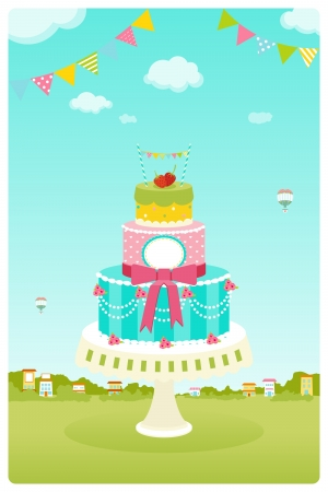 Cute cake in garden background Illustration
