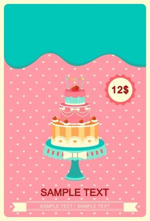 Cute colorful cakes card  Иллюстрация