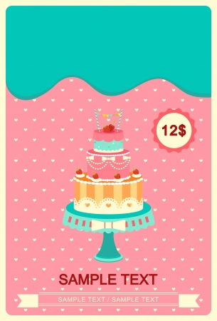 Cute colorful cakes card  Illustration