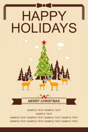 Happy Holidays Merry Christmas and Happy New Year Poster Illustration
