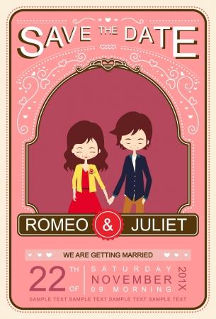 Cute Pink Vintage Wedding Invitation Card Illustrator