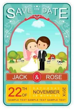 Cute Vintage Wedding Invitation Card Illustrator Vector