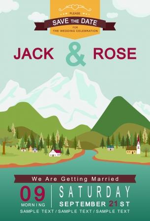 familia en la iglesia: Lago de monta�a y el pueblo de plantilla de la tarjeta de invitaci�n de boda vector  ilustraci�n