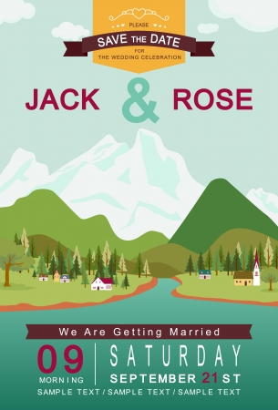 mountain holidays: Mountain lake and village wedding invitation card template vectorillustration  Illustration
