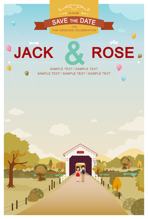 Love Bridge Wedding Invitation Card Template  Illustration