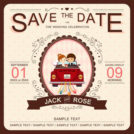 свадебный: Симпатичные Жених и невеста в красном автомобиле Свадебные приглашения шаблон Иллюстрация
