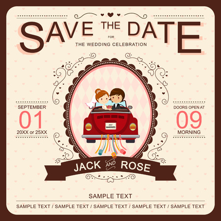 Cute Bride and Groom in Red Car Wedding Invitation Template Vector