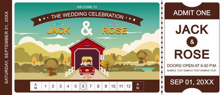 Cover bridge wedding invitation ticket template vectorillustrator