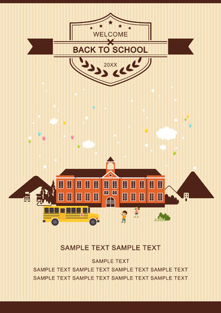 Welcome back to school poster Illustration