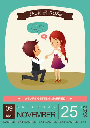 casados: ¿Quieres casarte conmigo tarjeta de la invitación del vector  Illustrator