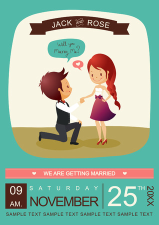 valentine married: Will you marry me invitation card VectorIllustrator Illustration