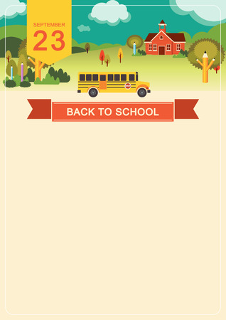 Landscape with school building poster