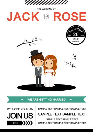 Cute black and white wedding invitation card VectorIllustrator