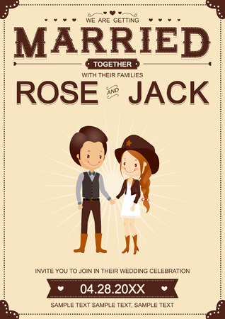 cowboy cartoon: Cute Cowboy Wedding Invitation Card VectorIllustrator