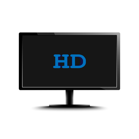 definition: High Definition LED Monitor isolated on white background. Vector Illustration.