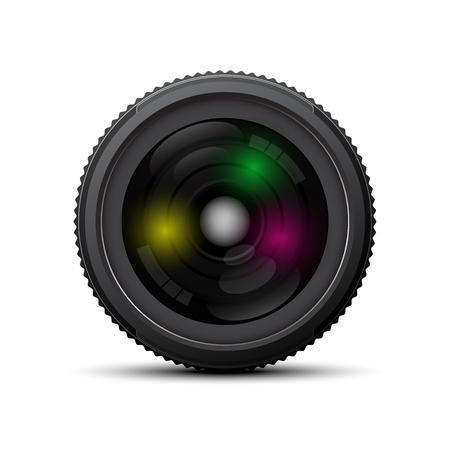 film shooting: front of camera lens on white background Illustration