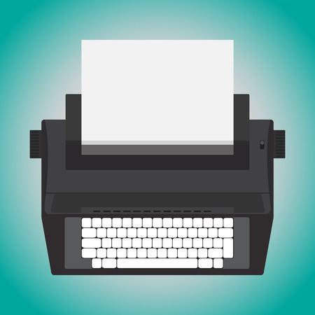 editorial: retro design electric typewriter isolate on blue background. Illustration