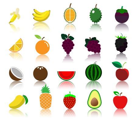 colorful variety fruit icon.
