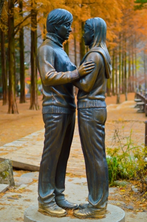 sonata:  Statues of Winter Sonata Drama Character in Nami Island