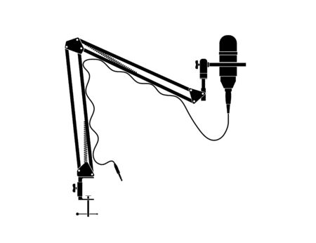 Condenser microphone with table lock bar stand, Vector for artwork and graphic design.