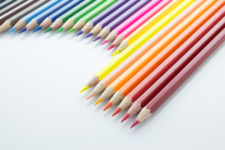 multi colour: multi colour pencils isolated on white background