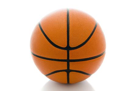 red ball: Basketball ball over white background