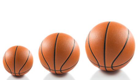 international basketball: Basketball balls over white background Stock Photo